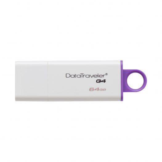 Memoria USB de 64GB DataTraveler G4 marca Kingston color Blanco con Purpura