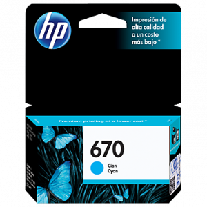 Cartucho de tinta para impresora HP 670 - Cian tintado - original