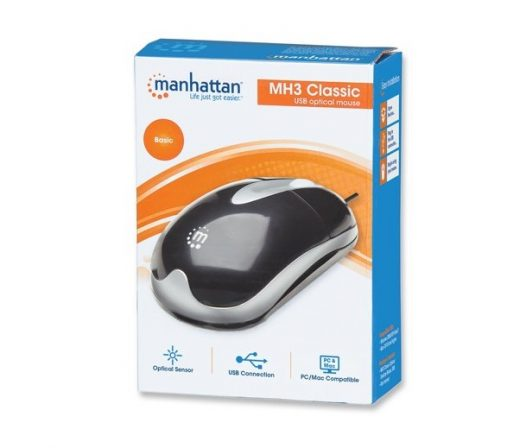 Mouse Alambrico Manhattan Clolor Negro con Plateado