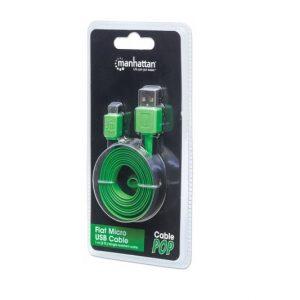 Cable de Carga Micro USB Manhattan Color Negro/Verde de 1 m