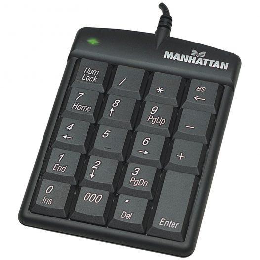 Teclado alámbrico númerico Manhattan USB 19 teclas color negro