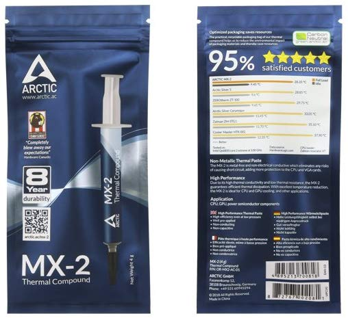 Pasta Térmica para Procesadores marca Arctic MX-2 de 4 gramos