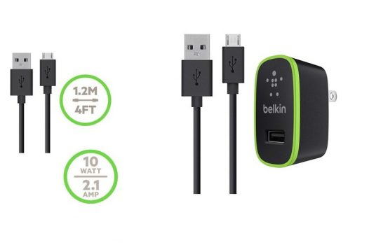 Cargador USB Belkin home charger 2,1Amp cable microUSB