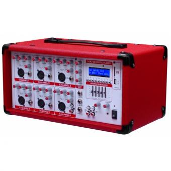 Consola Kaiser 6 Canales, Usb, Sd 1600W C/ Rojo