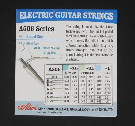 Juego de 6 Cuerdas Diferentes para Guitarra Electrica marca Alice