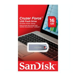 Memoria USB de 16GB Cruzer Force marca SanDisk Metal Negro con Rojo