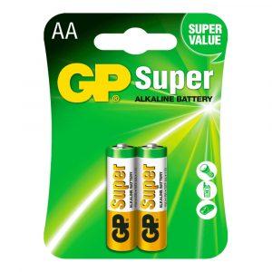Batería AA Super Alkalina 1.5V Carton 2 piezas Marca GP