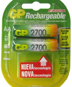 BATERIA GP NiMH RECARGABLE AA 2700 MAH CARTON 2 piezas