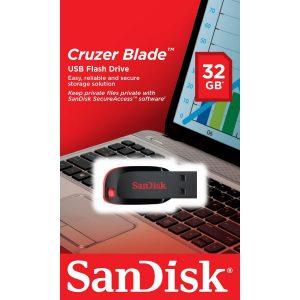 Memoria USB SanDisk Cruzer Blade Z50 32GB Color Negro con Rojo