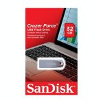 Memoria USB de 32GB Cruzer Force marca SanDisk Metal Negro con Rojo