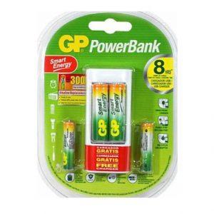 Cargador smart energy GP USB 110V baterias AA 1000mAh, AAA 400mAh blister