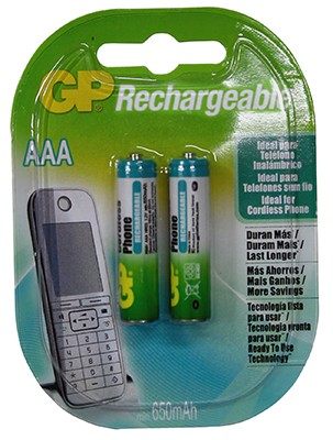 Bateria GP NiMH recargable AAA 650 Mah APC Tel. Carton 2 unidades