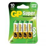 Bateria AA Super Alkalina 1.5V Carton 4 piezas Marca GP