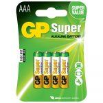 Baterías AAA Super Alkalina 1.5V 4 Piezas Marca GP