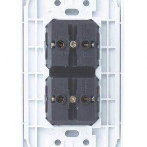 Placa Mitzu C/ 2 Interruptores De Dos Polos 110-250V 10A, Blanco