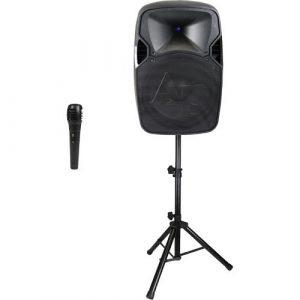 Bocina activa Audiopipe 12'',  USB/SD/BT c/ pedestal y micrófono