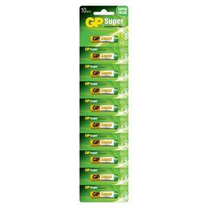 Batería AAA Super Alkalina 1.5V 10 piezas Marca GP