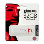 Memoria USB Kingston DT G4 de 32GB Color Blanco con Rojo