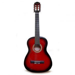 """Guitarra para Niño 30"""" marca Valenciana Color Rojo con Negro con Estuche"""