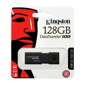 Memoria USB de 128GB DataTraveler 100 G3 marca Kingston color Negro