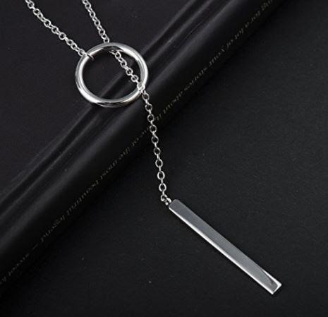Collar con circulo abierto y cadena de plata 925 bañado en platino