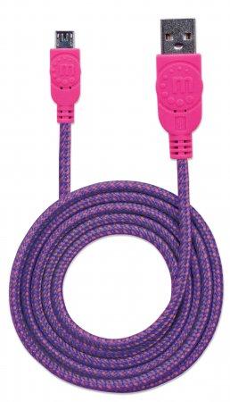 Cable de Carga Micro USB Manhattan Trenzado Color Rosado/Negro de 1.8 m