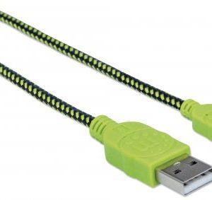 Cable de Carga Micro USB Manhattan Trenzado Color Negro/Verde de 1.8 m