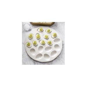 Plato ceramico blanco para huevos