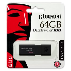 Memoria USB Kingston DT100G3 64GB Color Negro