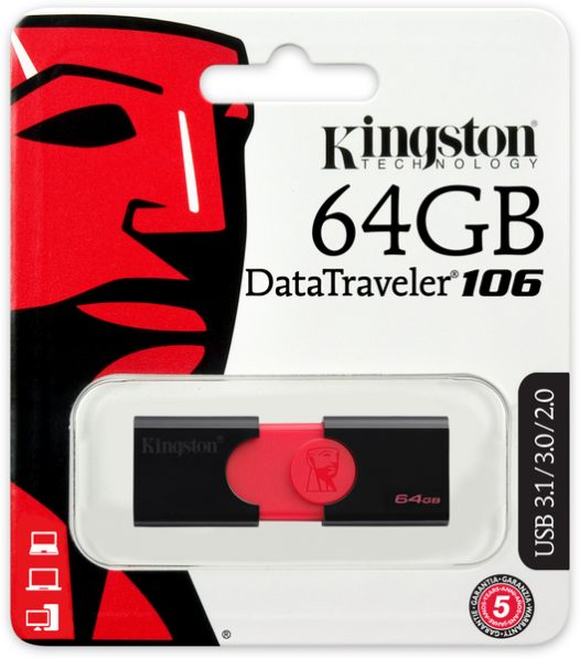 Memoria USB Kingston DT106 64 GB Color Negro con Rojo