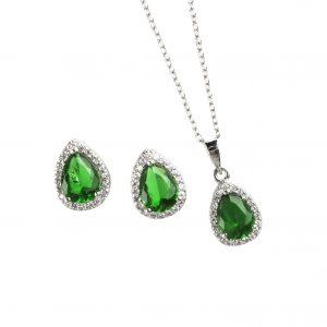 Juego de Plata con Cristales Verdes y Blancos