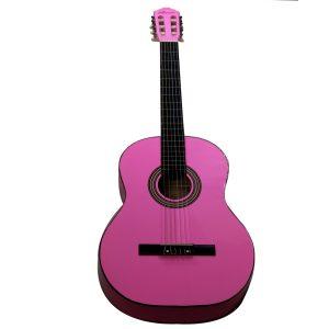 """Guitarra Clásica de 39"""" marca Valenciana color Rosado (Con Funda)"""