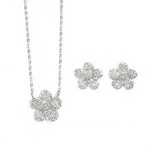 Juego de cadena y aretes de plata con cristales en forma de flor
