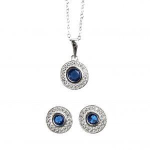 Juego de aretes y cadena con cristales azules
