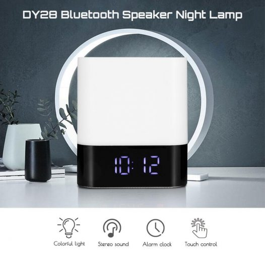 Bocina Bluetooth 5 en 1 Musky Bluetooth-Lampara -Reloj- Alarma- Cargador USB Reproductor Inteligente.