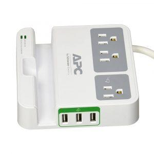 Regulador de Voltaje APC 120V con puertos USB Blanco