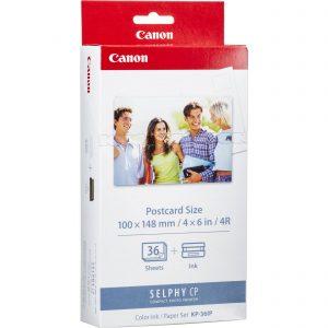 """Paquete de Papel Fotografico 4""""x6"""" de 36 hojas marca Canon con Cartucho de Tinta Tricolor"""
