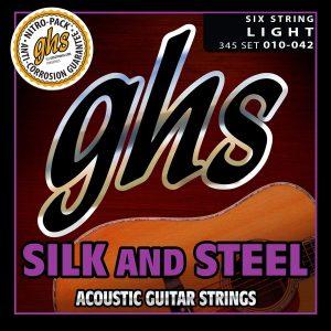 Set de Cuerdas para Guitarra Acústica Silk and Steel ligeras Marca GHS