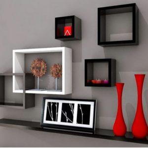 Repisa Decorativa de 120 cm Color Negro/Blanco