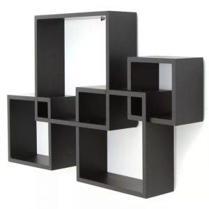 Repisa Elegante de 4 Estantes Color Negro
