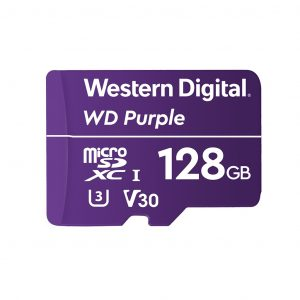 Memoria MicroSD marca Western Digital Purple de 128GB V3 Alta Resistencia