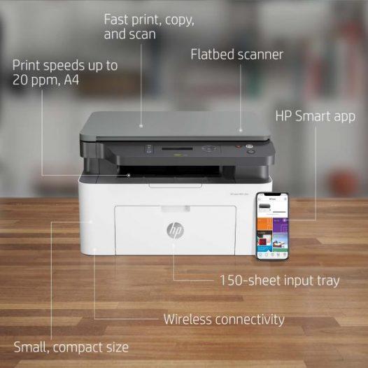 Impresora Multifuncional Láser MonoCromatica marca HP 135w WiFi