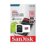 Tarjeta MicroSD de 16GB Clase 10 marca Sandisk para Android
