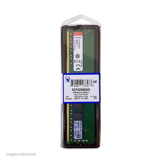 Memoria RAM DDR4 marca Kingston de 8GB para Desktop de 2666Mhz