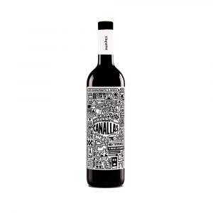 Botella de Vino Tinto marca Canallas