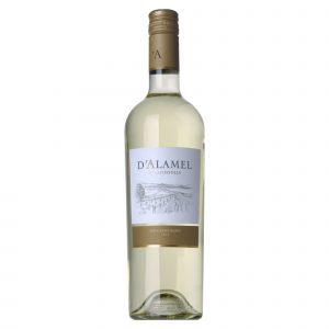 Botella de Vino Blanco D'Alamel - Sauvignon Blanc - Chile - Valle Central