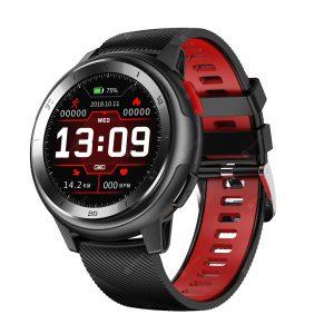Reloj Inteligente DT-68 marca No. 1 Color Negro con Pulsera Negro con Rojo