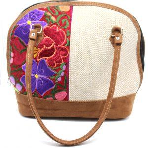 Bolsa tipo Empanada Cuero Castor Floreado color Gena
