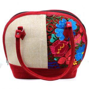Bolsa tipo Empanada de Cuero Castor Floreado color Rojo