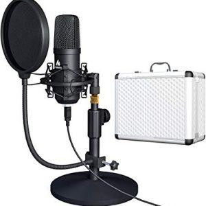 Kit de Micrófono para Vlog con Base y Caja de Aluminio (Gaming, Youtuber, Twitch) marca Maono